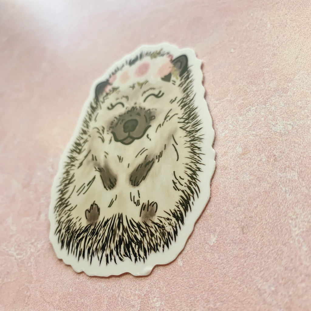 Floral Crown Hedgehog Sticker
