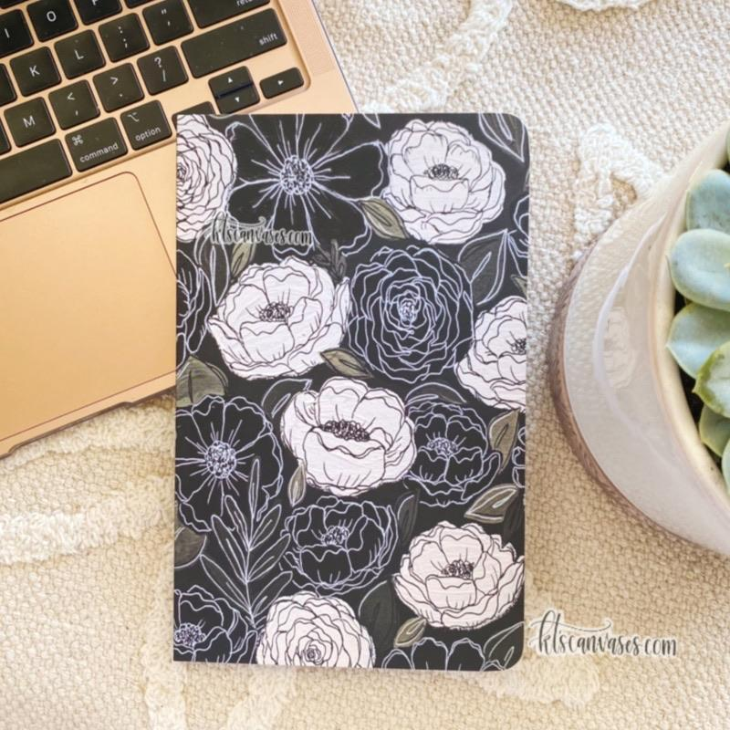 Black and White Florals DOT GRID Notebook