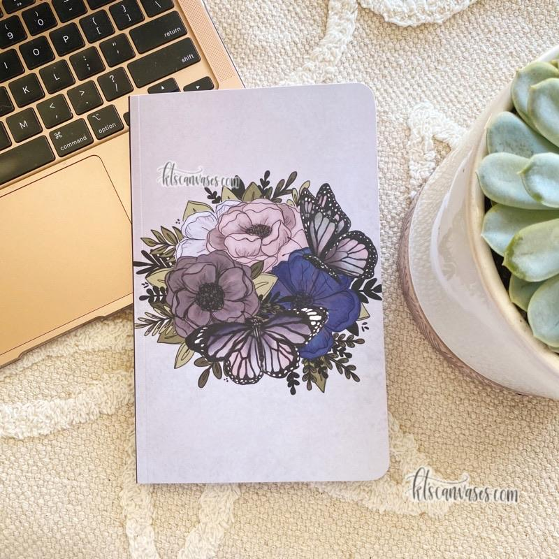 Purple Butterfly Florals DOT GRID Notebook