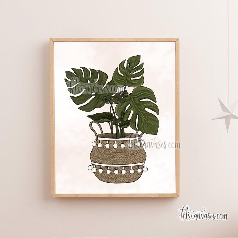 "Monstera Plant Art Print (""can't kill this one"" option)"