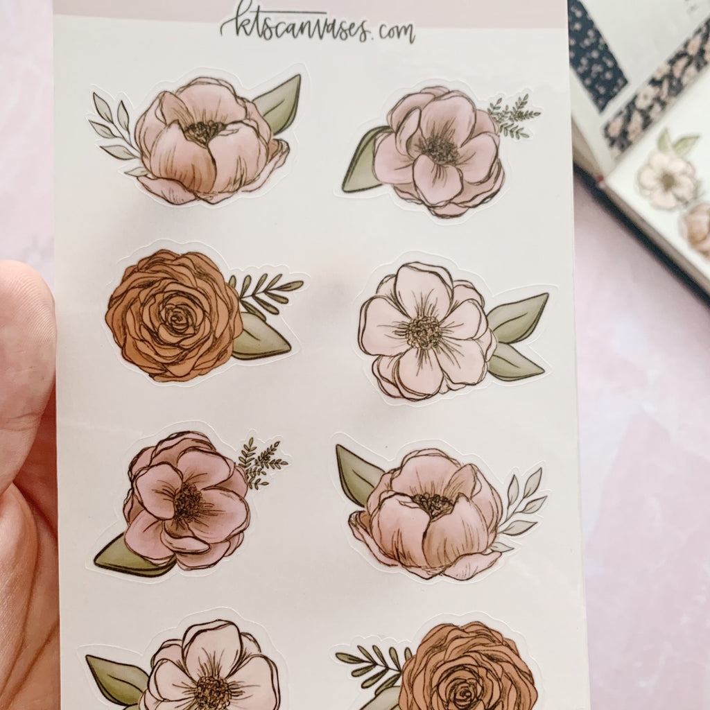 Pink Floral Clear Journal Stickers (2 sheets included) NOT WATERPROOF