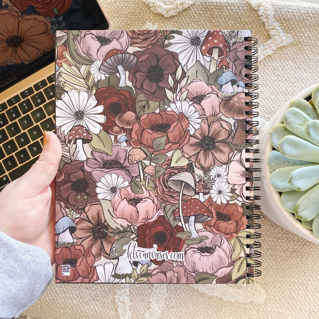 Forest Florals 7 x 9 in. Spiral DOT GRID Notebook