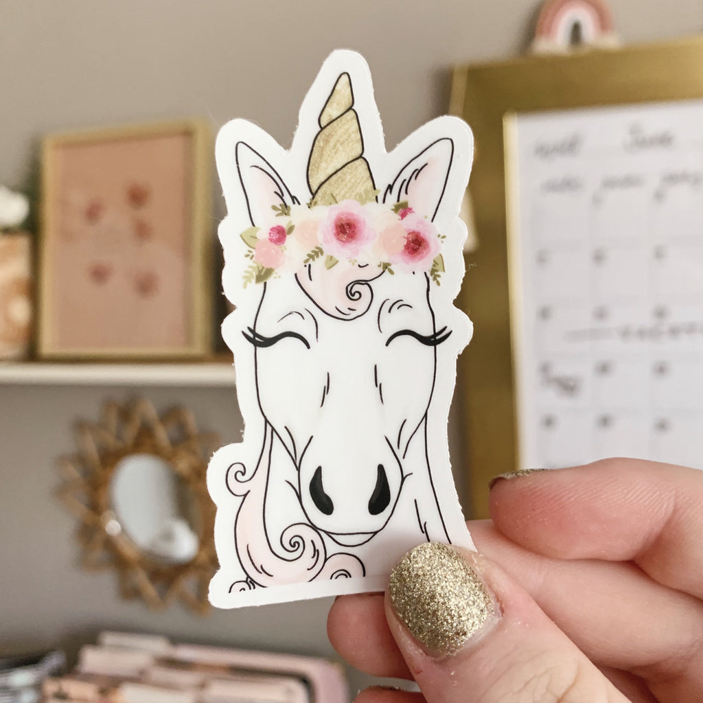 Floral Crown Unicorn Clear Sticker