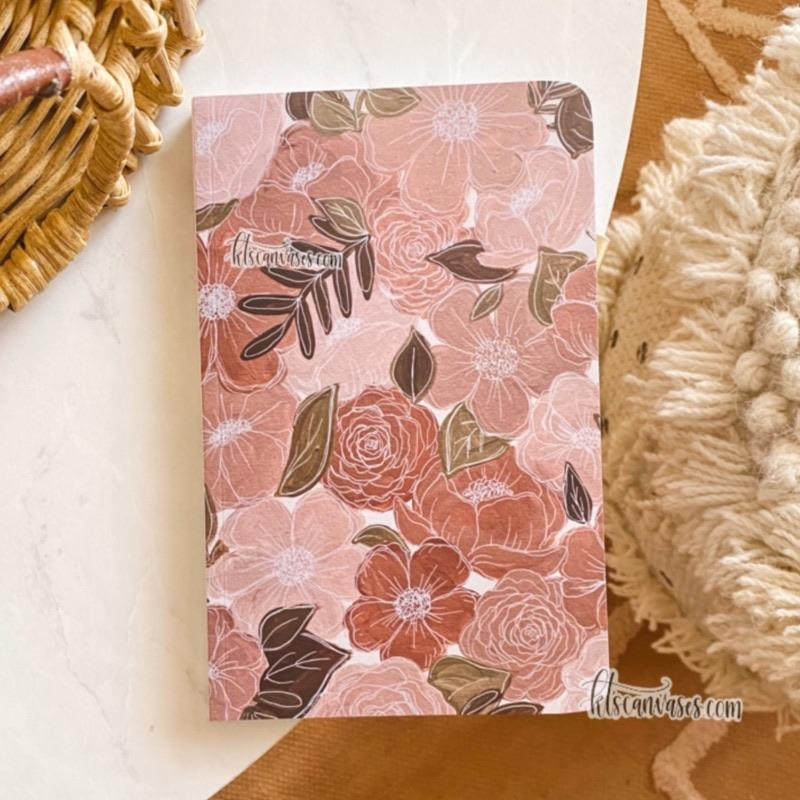 Pink Painted Florals LINED Notebook