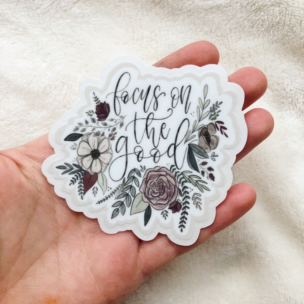Focus on the Good Floral Clear Sticker