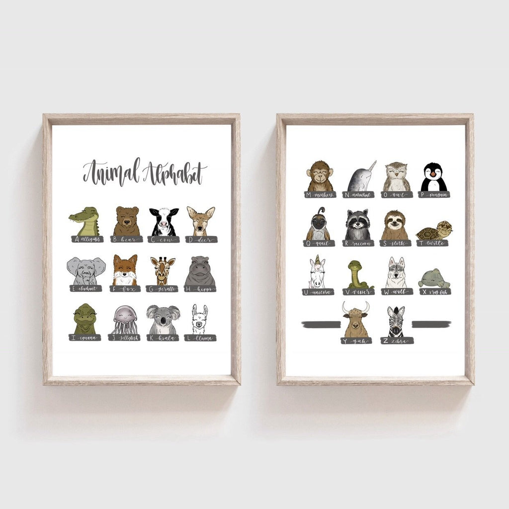 Animal Alphabet (Set of 2) Art Prints