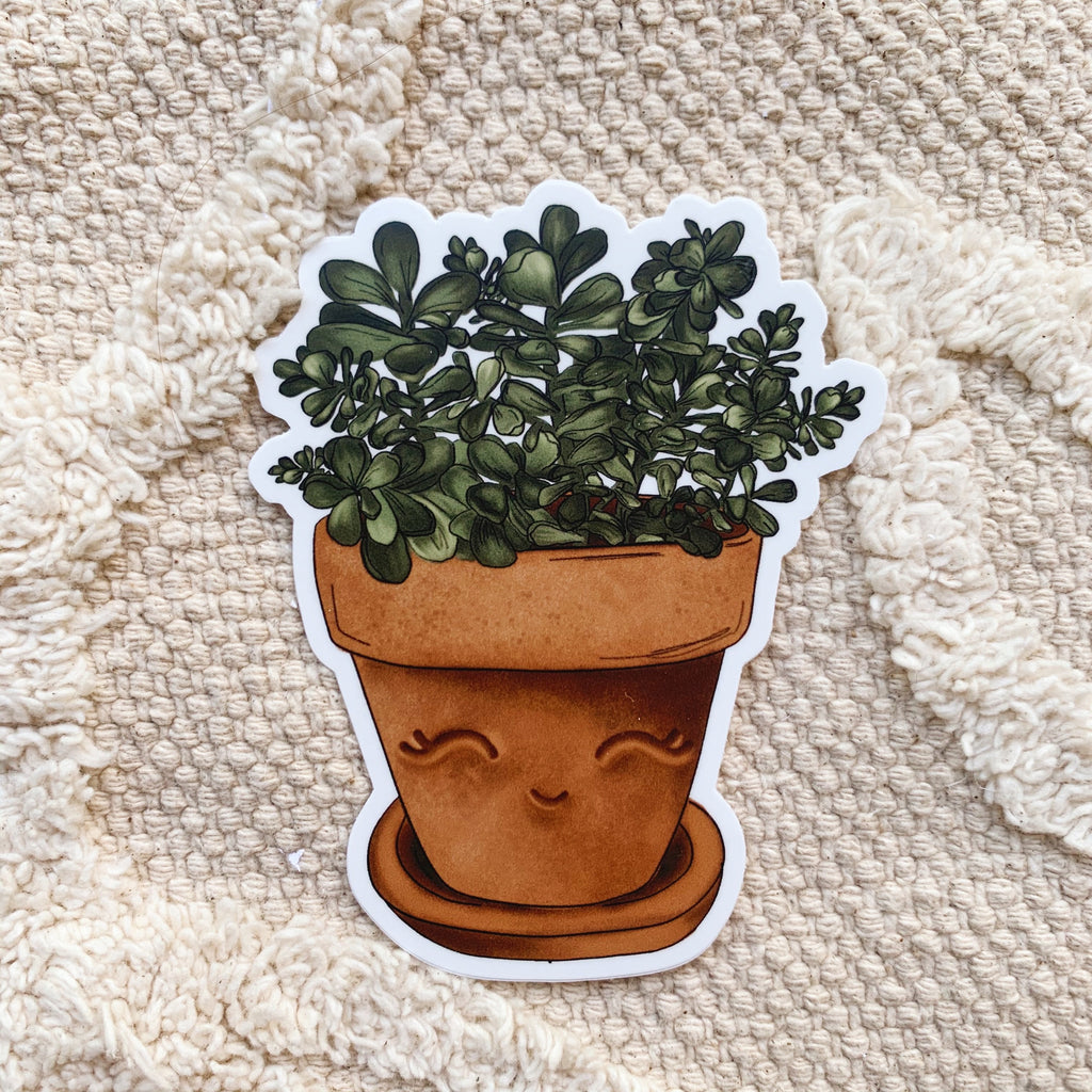 Happy Jade Plant Sticker