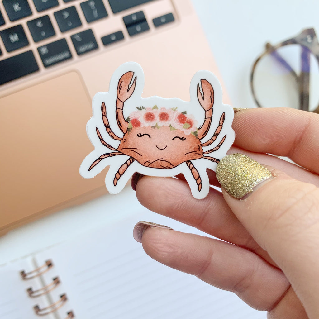 Mini Floral Crown Crab Sticker