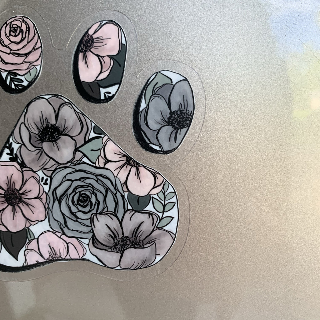 Larger Floral Paw Clear Sticker