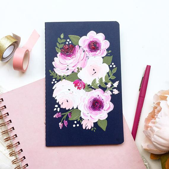 Notebook - Navy And Pink Floral Notebook