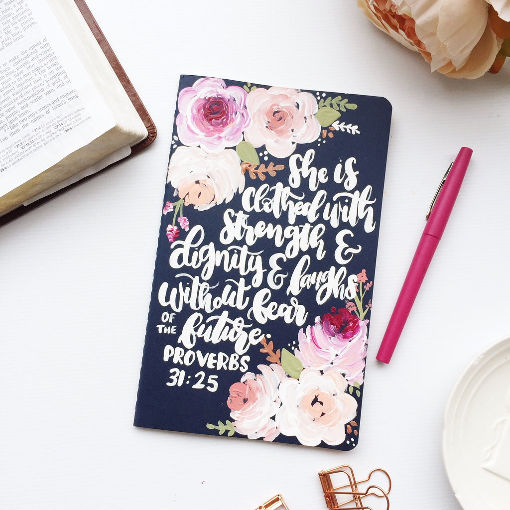 Notebook - Proverbs 31:25 Floral Notebook