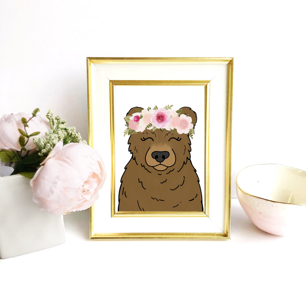 Print - Floral Crown Bear Art Print