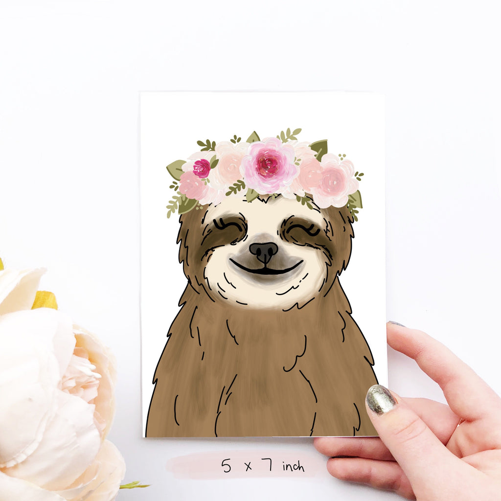 Print - Floral Crown Sloth Art Print