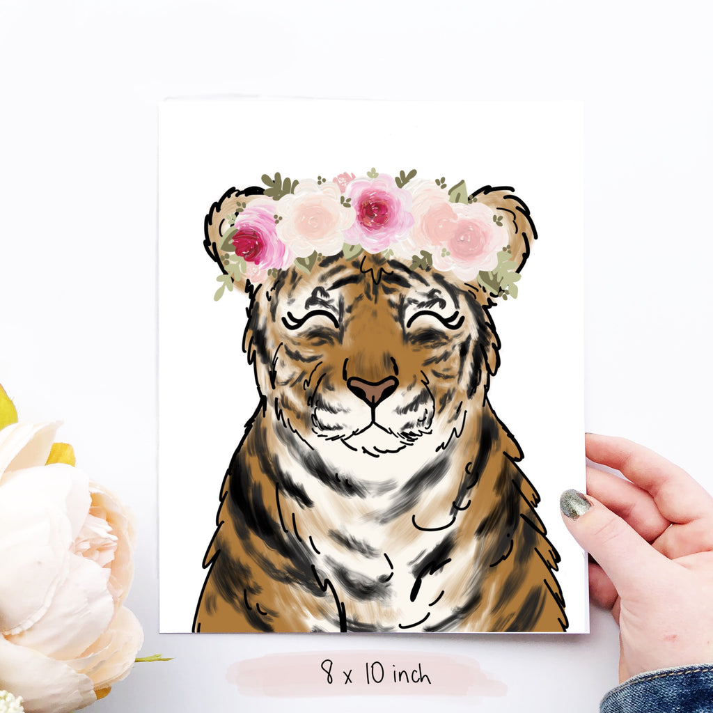 Print - Floral Crown Tiger Art Print