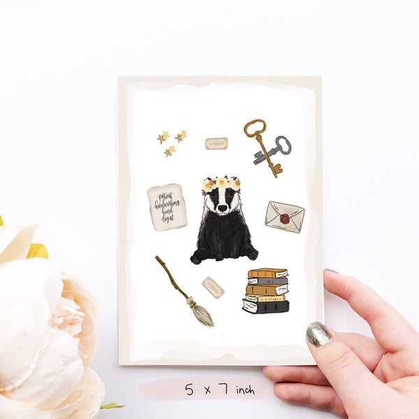 Print - Magical Badger Collage Art Print