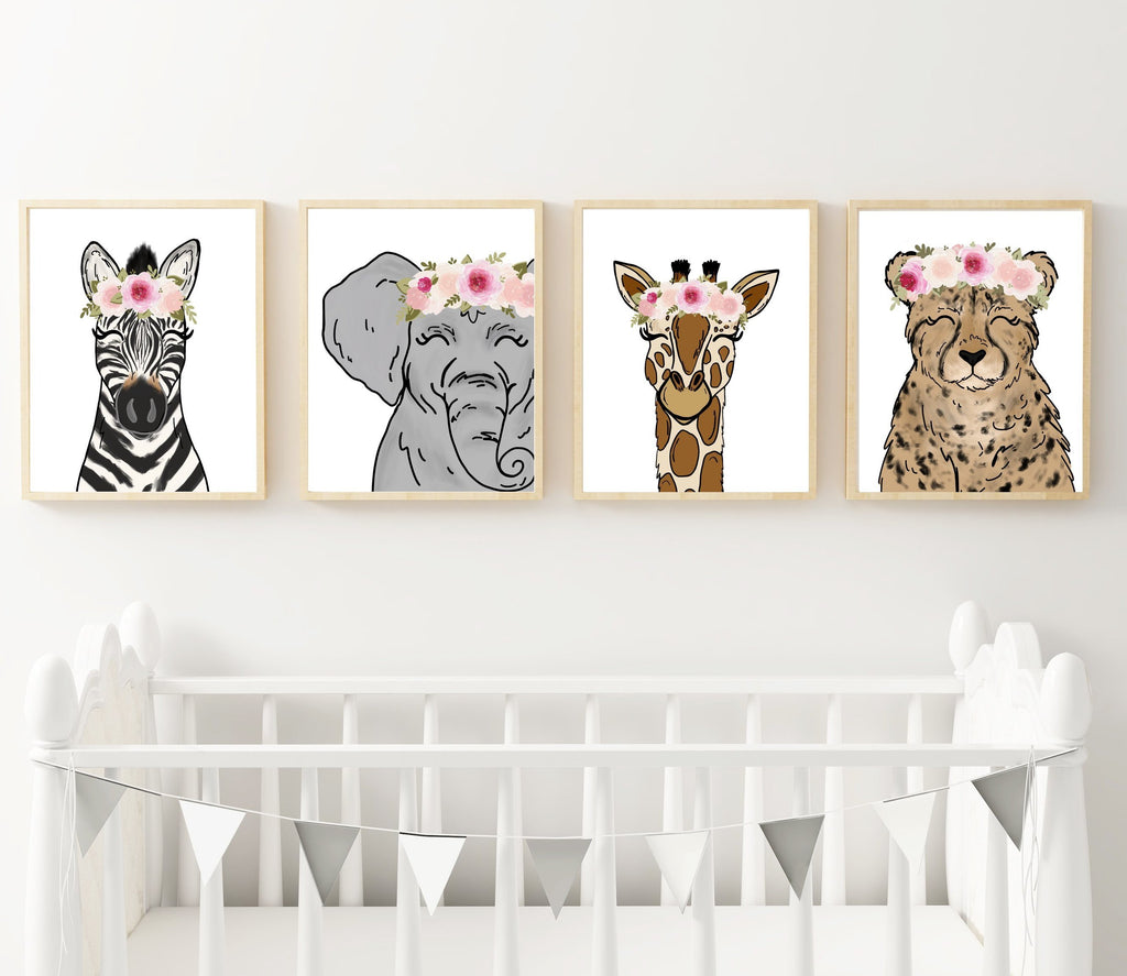 Print - Safari Animal Set Of 4 Art Prints