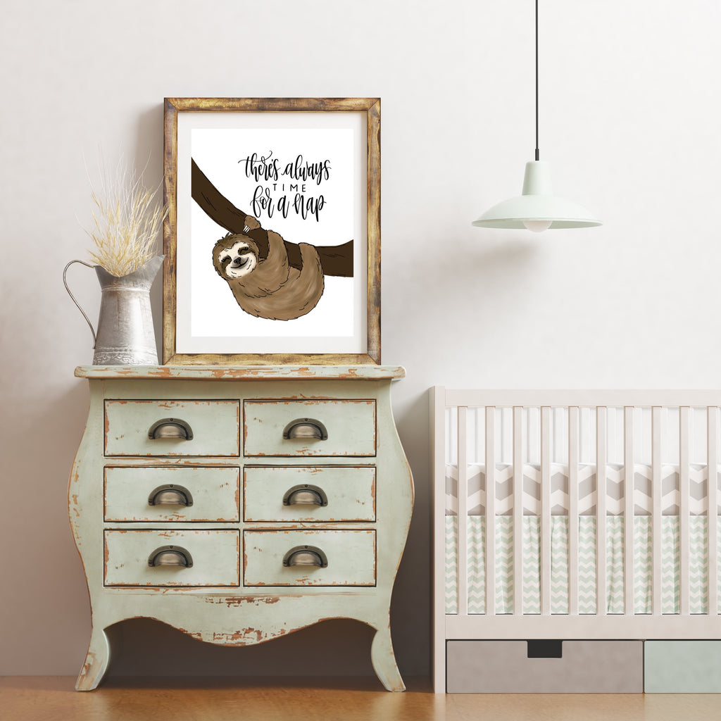 Print - There's Always Time For A Nap Sloth Art Print