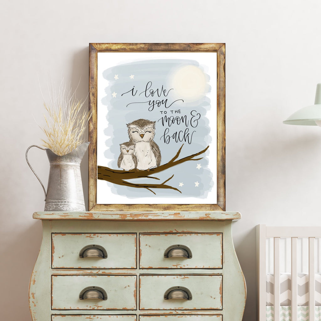 Print - To The Moon & Back Owl Art Print