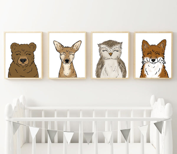 Print - Woodland Animal Set Of 4 Art Prints