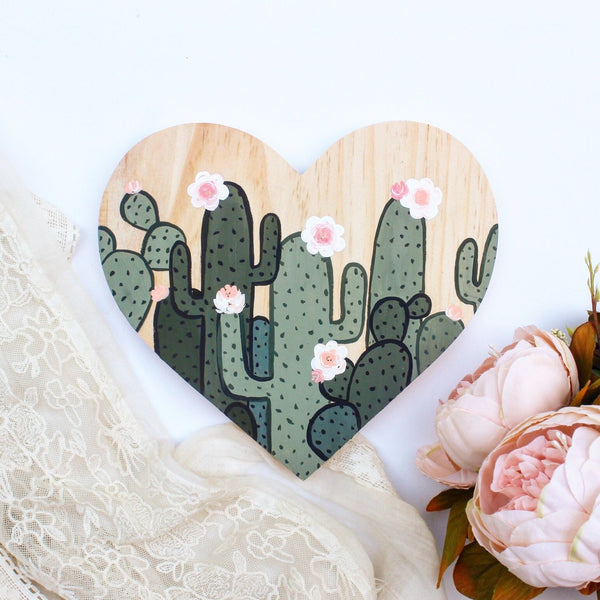 Wood Piece - Cactus Wooden Heart