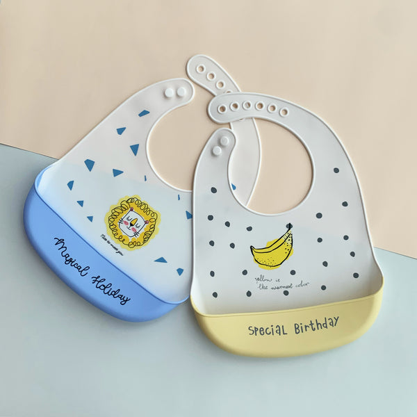 Set of 2 Silicone Bibs (Yellow)