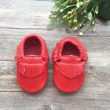 Classic Cherry Leather Moccasins