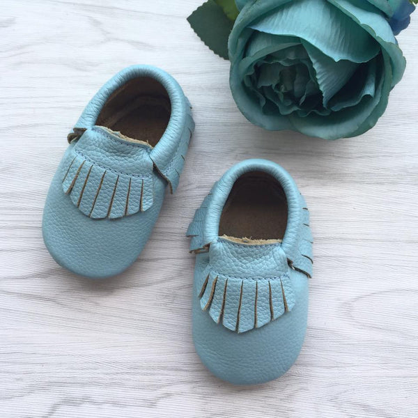 Classic Baby Sky Leather Moccasins