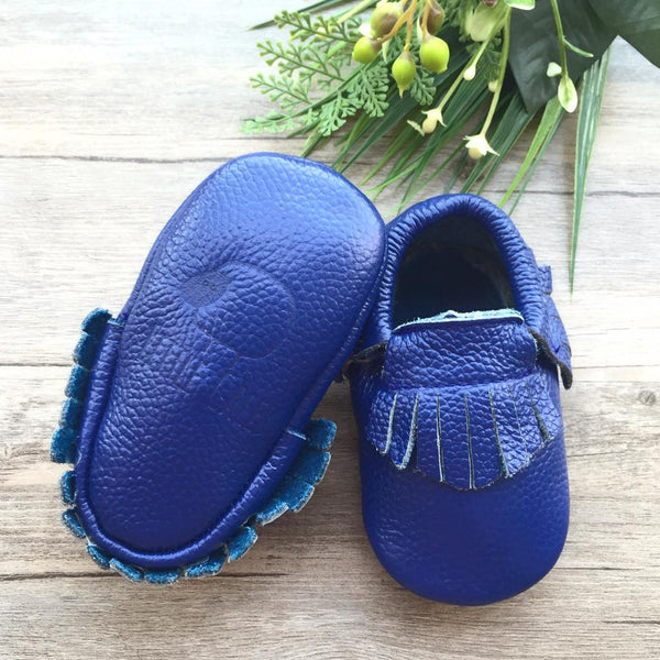 Classic Royal Blue Leather Moccasins(12-18 months)