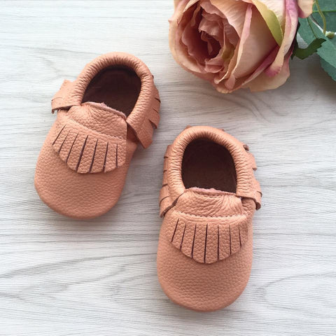 Classic Baby Blush Leather Moccasins