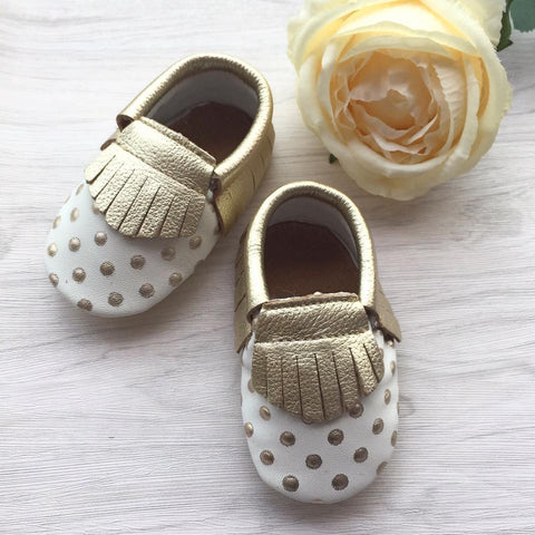 Polka Dots Leather Moccasins
