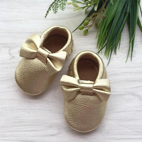 Bow Gold Leather Moccasins