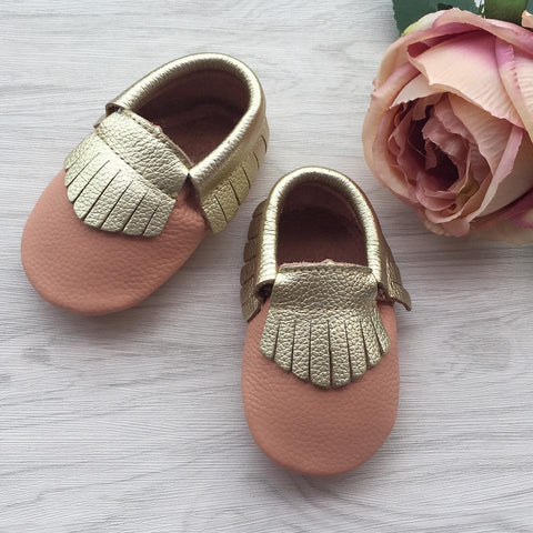 Gold Fringe Blush Leather Moccasins