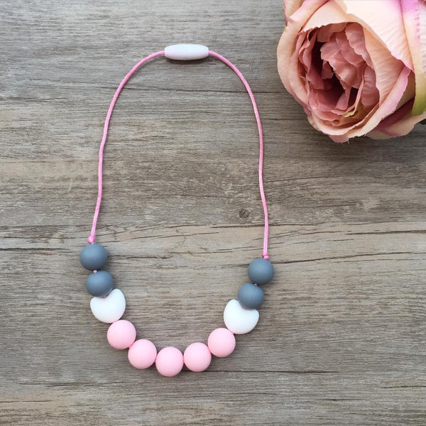 Kids Teething Necklace - Amelia (Pink)