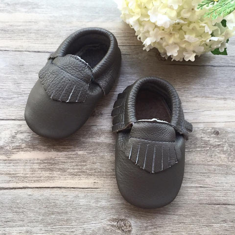 Classic Dark Grey Leather Moccasins