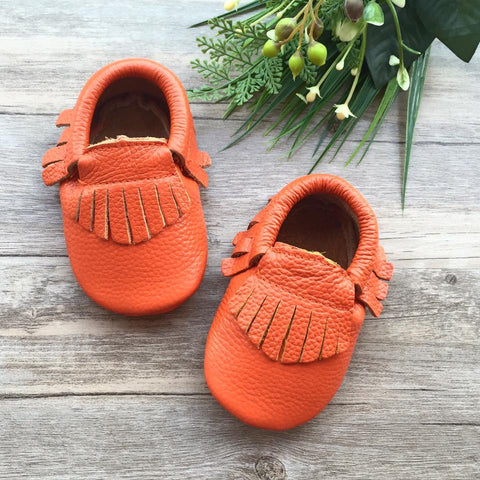 Classic Electric Coral Leather Moccasins