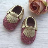Sequin Pink Leather Moccasins