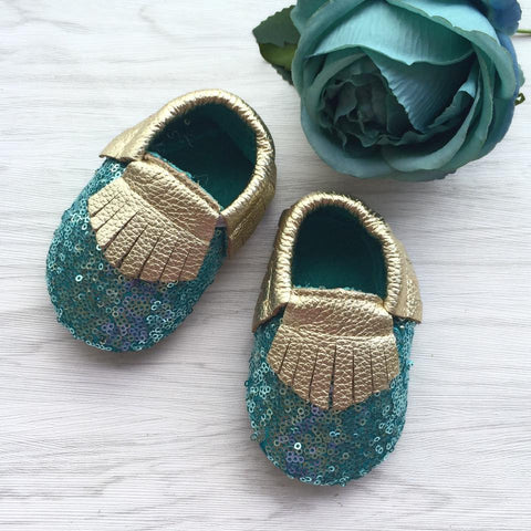 Sequin Blue Leather Moccasins
