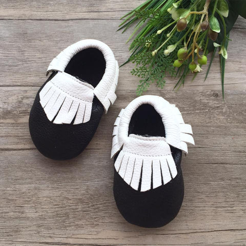 White Fringe Black Leather Moccasins