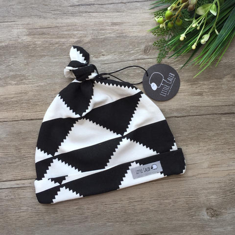 Black and White Triangle Aztec Topknot Beanie