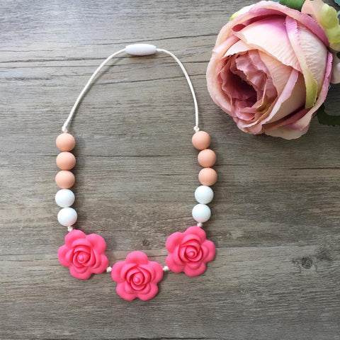 Kids Teething Necklace - Giselle (Coral)