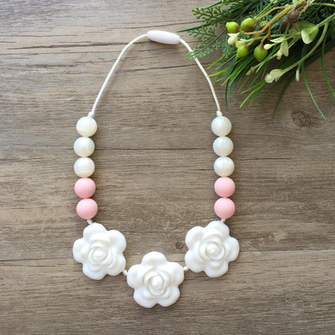 Kids Teething Necklace - Giselle (White)