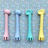 Giraffe Spoon & Fork Utensil with travel case