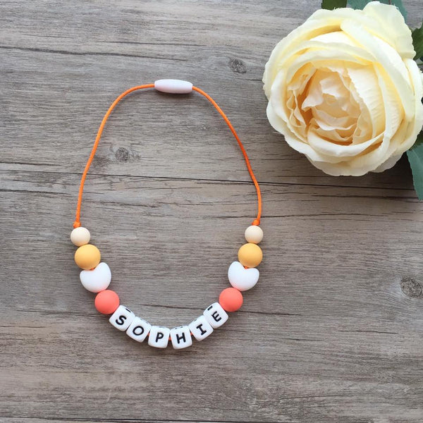 Kids Heart Personalized Necklace (Orange)