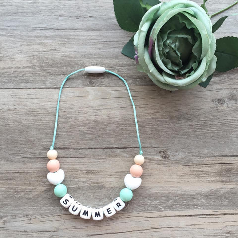 Kids Heart Personalized Necklace (Cotton Candy)
