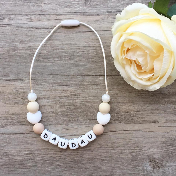 Kids Heart Personalized Necklace (Cream)