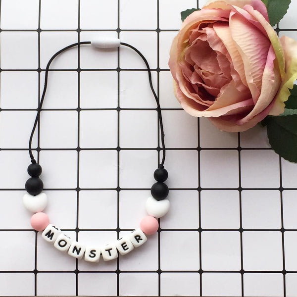 Kids Heart Personalized Necklace (Black)