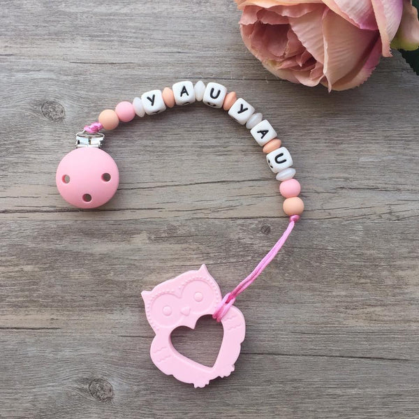 Personalized Owl Teether (Pink)