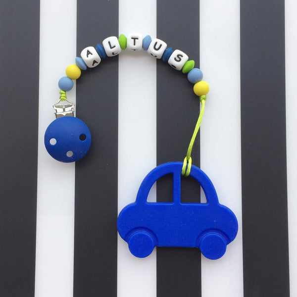 Personalized Mr. Bean Car Teether (Blue)