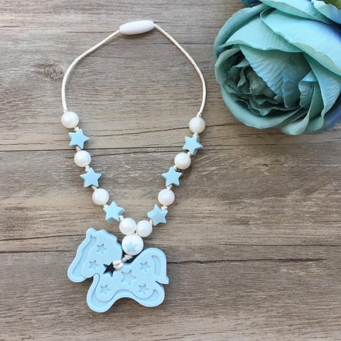 Pony Kids Teething Necklace - Blue