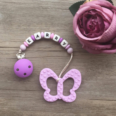 Personalized Butterfly Teether (Purple)